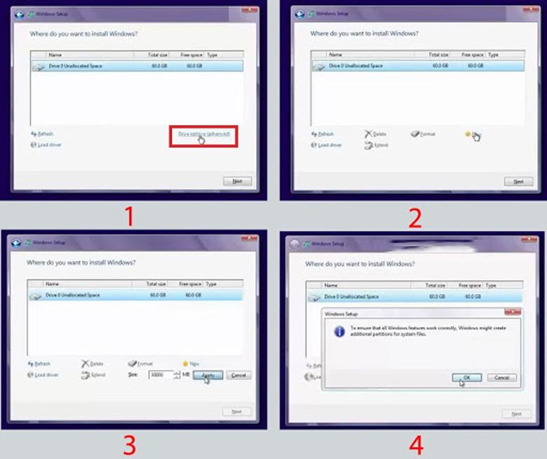 Cách cài Win 8 cho laptop tại bước này bạn có thể phân vùng lại ổ đĩa hoặc để phân vùng ngay từ trước