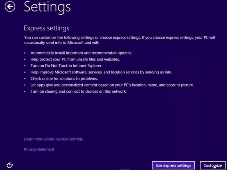 cách cài Win 8 cho laptop ấn vào Customize để có thể tùy chỉnh cài đặt