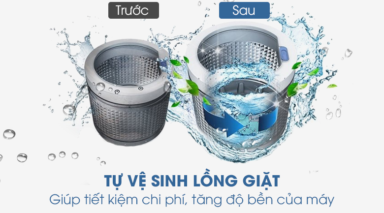 vệ sinh lồng giặt-Máy giặt Toshiba Inverter 8.5 kg TW-BK95S2V(WK) lồng ngang