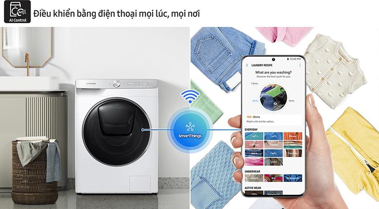Bảng điều khiển AI Control-Máy giặt Samsung AI Inverter 10 Kg WW10TP54DSH/SV lồng ngang